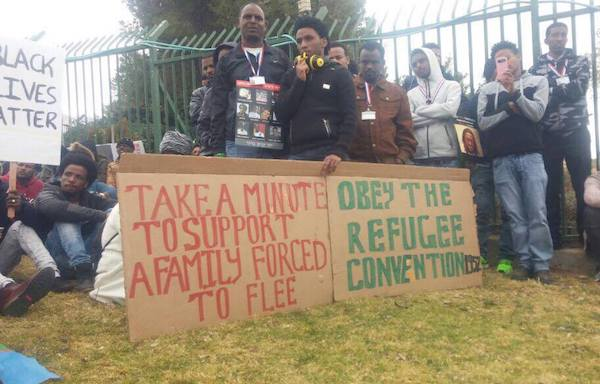 African asylum seekers demonstrate outside the Supreme Court, Jerusalem, January 26, 2017. (Yael Ravid)