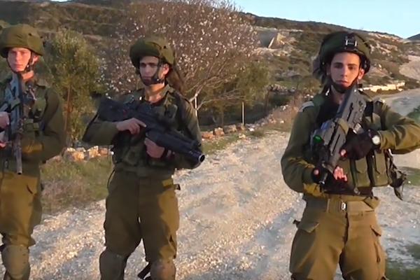 Israeli soldiers seen moments before attacking B'Tselem volunteer Ahmad Ziyada and his brother Mahmoud. (Screenshot)