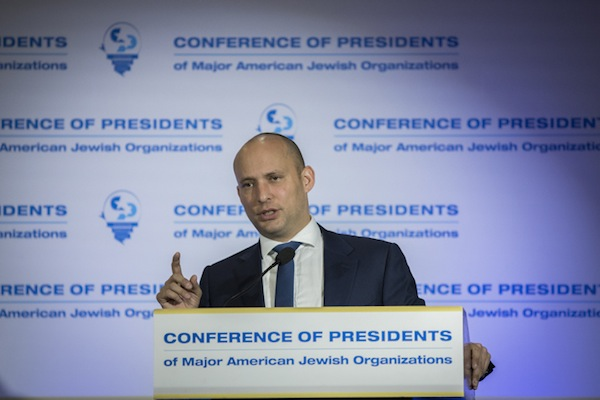 Education Minister Naftali Bennett attends the Conference of Presidents of Major American Jewish Organizations, at the Inbal Hotel in Jerusalem, on February 20, 2017. (Yonatan Sindel/Flash90)