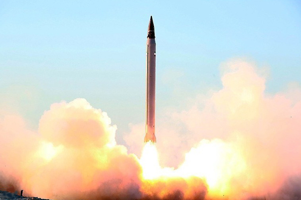 A test launch of the Iranian Emad intermediate-range ballistic missile, October 11, 2015. (Mohammad Aaah/Tasnim News Agency)