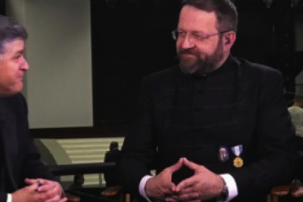Deputy Assistant to the President Sebastian Gorka seen wearing a medal from the Vitezi Rend, a Hungarian group listed by the State Department as having collaborated with the Nazis during World War II. (Fox News screenshot)