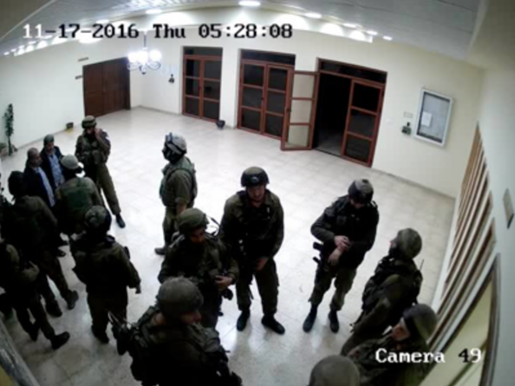 Israeli soldiers seen inside Palestine Technical University, November 17, 2016. (Academia for Equality)