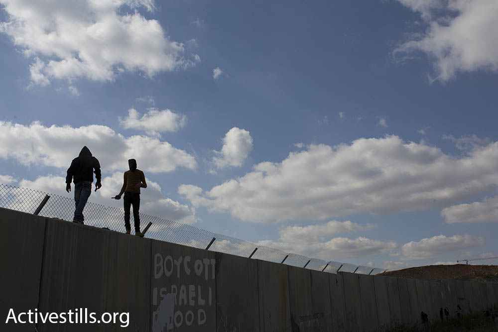 Palestinian youths climb the Israeli separation barrier in Bil'in, February 17, 2017. (Oren Ziv/Activestills.org)