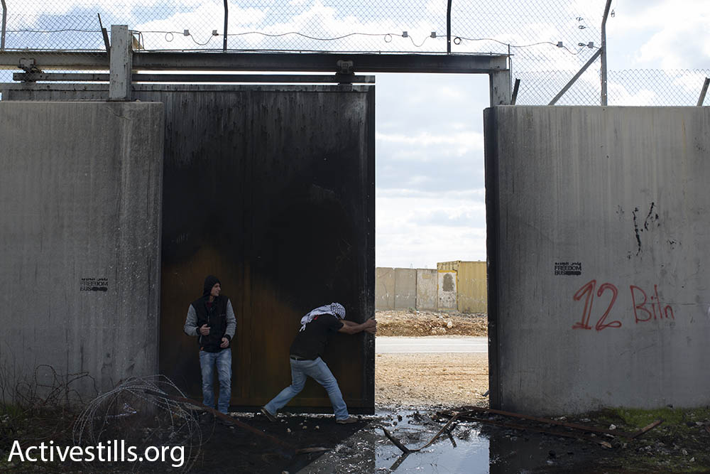 Palestinian youths force open a gate in the Israeli separation wall, built on land belonging to the village of Bil'in, which leads to the Israeli settlement of Modi'in Ilit, also built on village land, February 17, 2017. (Oren Ziv/Activestills.org)