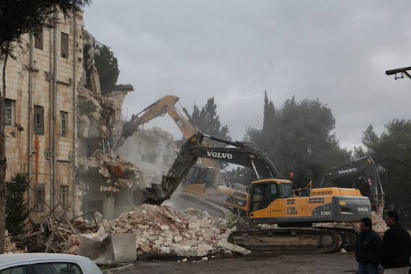 The Shepherd Hotel in East Jerusalem's Sheikh Jarrah neighborhood, which was seized under Israel's Absentee Property Law, is demolished in order to build a Jewish apartment complex, January 9, 2011. (Yossi Zamir/Flash90)