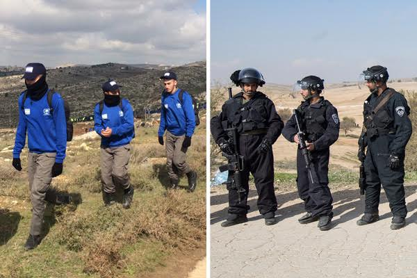 Israeli police in West Bank outpost of Amona unarmed (left). Police armed with M16s and sponge-tipped bullets during home demolitions in Umm el-Hiran (right). (Photos by Tovah Lazaroff and Activestills.org)