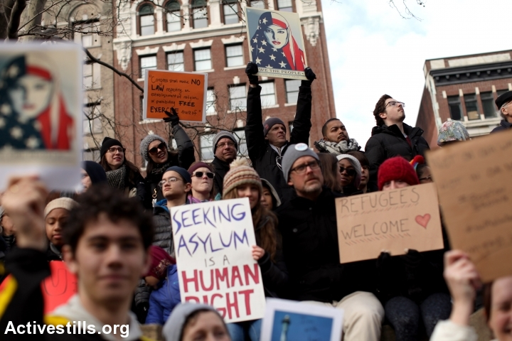 Americans protest President Trump's 'Muslim ban' executive order on immigration and refugees, Boston, January 29, 2017. (Tess Scheflan/Activestills.org)