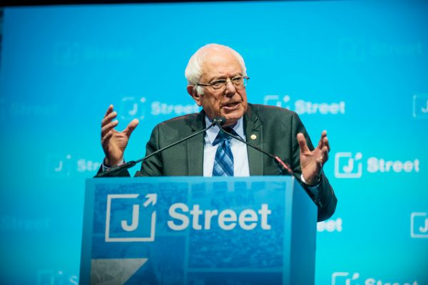 Senator Bernie Sanders speaks at the J Street conference, Washington, D.C., February 27, 2017. (Daniel McGarrity Photography/CC 2.0)