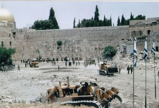 A few days after Israel entered the Old City of Jerusalem in the Six Days War it cleared the area near the Western Wall. Photo from Wikimedia Commons (CC)