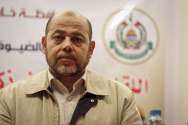 Senior Hamas leader Mousa Abu Marzouk attends a national meeting between his movement and the Islamic Jihad movement in Khan Younis in the southern Gaza Strip, on June 7, 2015. (Abed Rahim Khatib/Flash90)