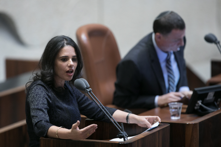 Justice Minister Ayelet Shaked speaks during a vote on the so-called Regulation Bill, a controversial bill that seeks to legitimize illegal West Bank outposts, in the Knesset, December 5, 2016. (Yonatan Sindel/Flash90)