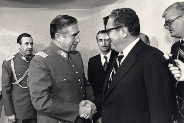 Chilean President Augusto Pinochet meets with U.S. Secretary of State Henry Kissinger in 1976.