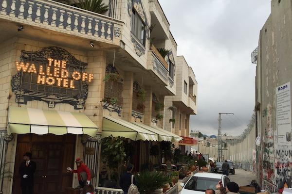 Entrance to The Walled Off Hotel, Bethlehem, March 3, 2017. (Haggai Matar)
