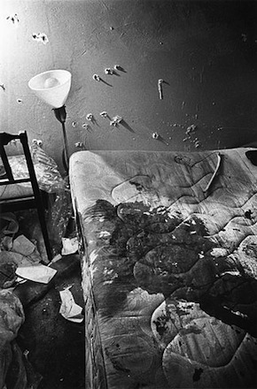 Photograph of Fred Hampton's apartment, after the raid where he was killed by members of the Chicago Police Department.