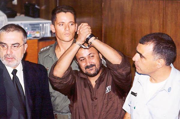Marwan Barghouti in court, August 14, 2002. (Flash90)