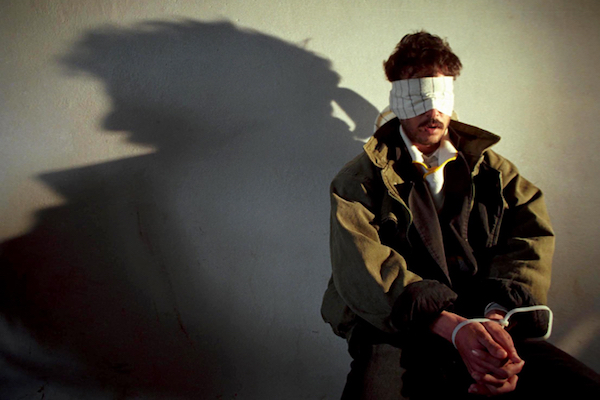 Illustrative photo of a blindfolded Palestinian arrestee in the West Bank. (Nati Shohat/Flash90)