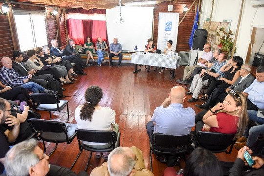 Representatives of dozens of civil society and human rights organizations participate in a conference announcing the 'Council for the Protection of Freedoms,' Nazareth, Israel, May 12, 2017. (Courtesy of I'lam)
