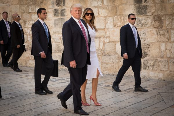 U.S. President Donald Trump and his wife Melania visiting the Church of the Holy Sepulchre in the Old City of Jerusalem, May 22, 2017. (Nati Shohat/Flash90)