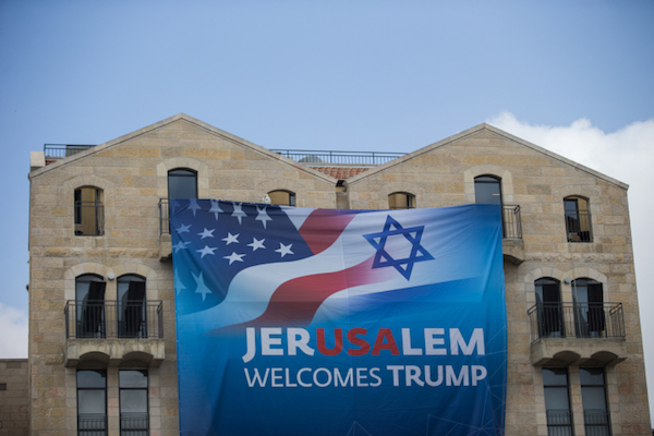 View of a poster welcoming U.S. President Donald Trump in Jerusalem on May 19, 2017. (Yonatan Sindel/Flash90)