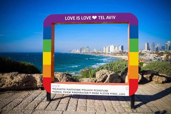 An installation in Jaffa overlooking Tel Aviv, set up ahead of Tel Aviv Pride week. (Tel Aviv Pride Parade Facebook page)