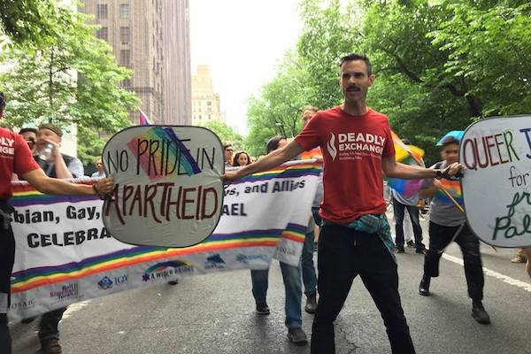 A group of queer Jewish activists disrupts the Celebrate Israel parade in Manhattan, New York City, June 4, 2017. (Jewish Voice for Peace)