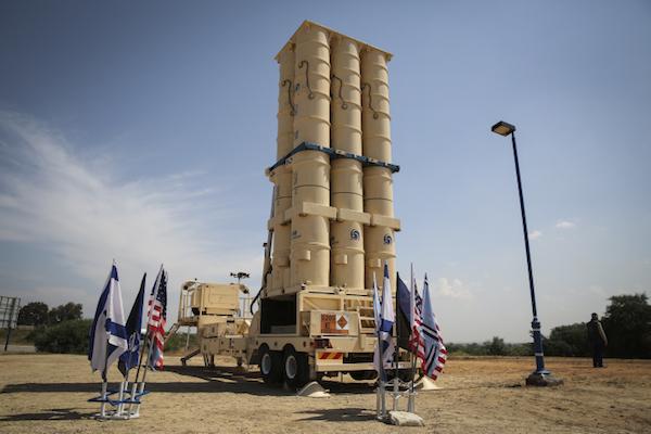 An Israeli 'Arrow II' ballistic missile interceptor battery deployed in southern Israel. (Hadas Parush/Flash90)