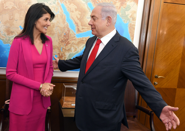 Israeli Prime Minister Benjamin Netanyahu meets with United States Ambassador to the United Nations Nikki Haley in Netanyahu's office in Jerusalem, June 7, 2017. (Matty Stern/U.S. Embassy)