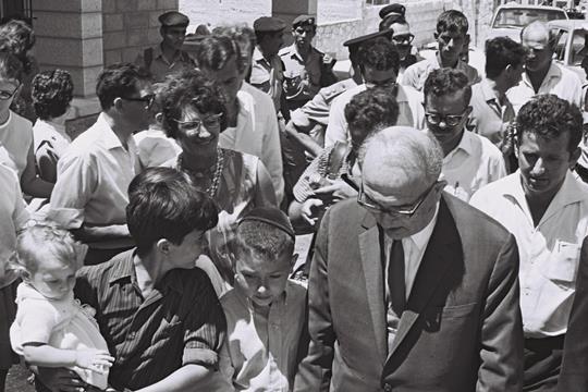 Prime Minister Levi Eshkol visits settlers in East Jerusalem, 1968. (GPO)