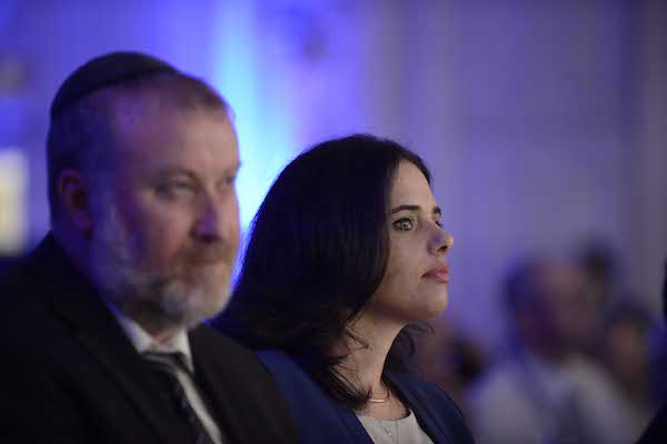 Minister of Justice Ayelet Shaked next to Attorney General Avichai Mandelblit, at the ceremony for opening a new year of justice in Tel Aviv, on August 30, 2016. (Tomer Neuberg/Flash90)