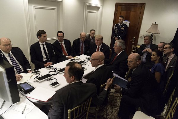 President Donald Trump with senior advisors in a makeshift situation room at Trump's Mar a Lago estate in Florida, April 7, 2017. (White House photo)
