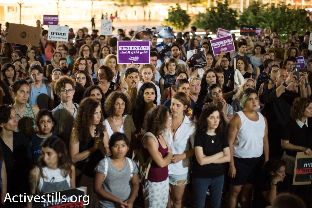 Over 1,000 women and men gather in Tel Aviv's Habima Square to protest violence against women, July 17, 2017. (Yotam Ronen/Activestills.org)