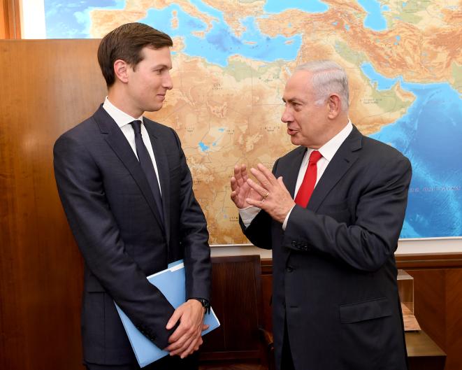 President Trump's Special Envoy Jared Kushner meets with Israeli Prime Minister Benjamin Netanyahu at the Prime Minister's Office in Jerusalem, June 21, 2017. Matty Stern/U.S. Embassy Tel Aviv)