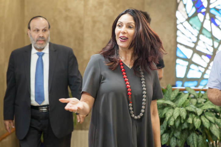 Culture Minister Miri Regev arrives at the weekly cabinet meeting, Jerusalem, May 3, 2017. (Emil Salman)