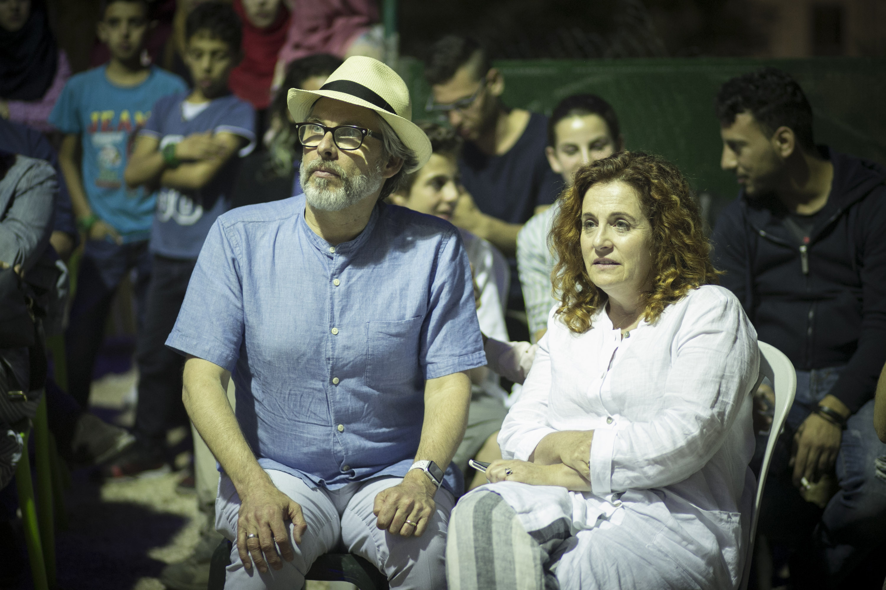 Chabon and Waldman at a book launch event in Hebron, West Bank. (Breaking the Silence)