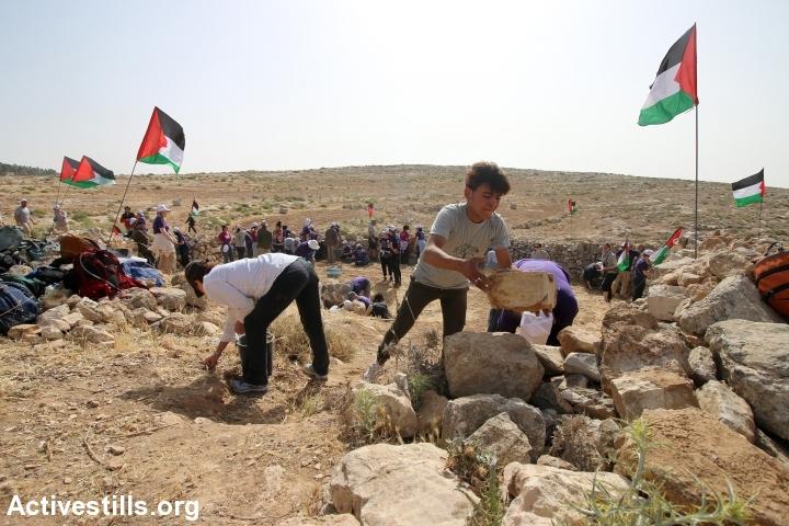 Diaspora Jewish activists and Palestinians work to build the Sumud Freedom Camp's main tent, Sarura, West Bank, May 19, 2017. (Ahmad al-Bazz/Activestills.org)