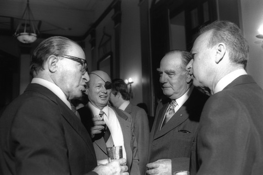 South African Prime Minister Vorster meets with Israeli Prime Minister Yitzhak Rabin and Knesset members Menachem Begin and Moshe Dayan, during a reception at Jerusalem's Hilton.