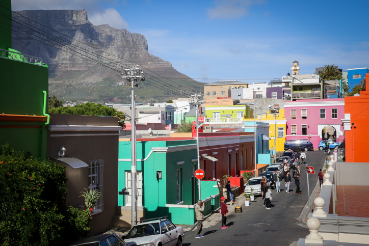 Colorfully painted houses in the Bo Kaap neighborhood of Capetown, South Africa. April 12, 2017. (Yossi Zamir/Flash90)