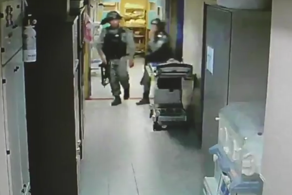 CCTV footage shows Israeli security forces assaulting a wounded Palestinian man and hospital staff during a raid on Makassed Hospital, East Jerusalem, July 21, 2017.