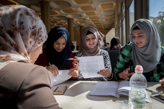 Palestinian women sit and study together at Hebrew University. (Nati Shohat/Flash90)