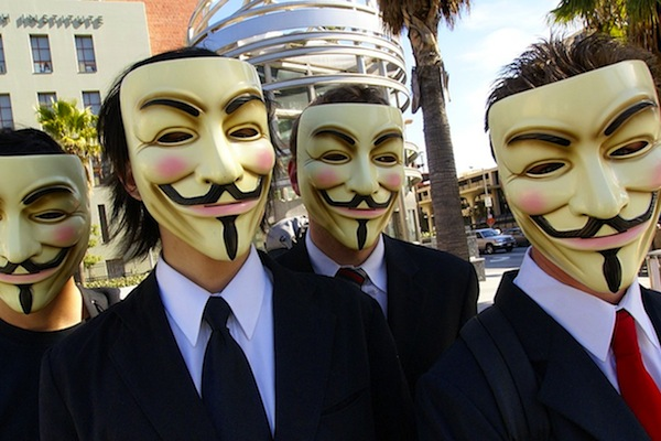 Members of Anonymous wear Guy Fawkes masks at the Scientology center in Los Angeles. (Vincent Diamante/CC BY-SA 2.0)