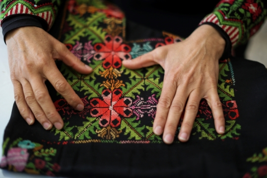 Illustrative photo of Palestinian embroidery. (Hadas Parush/Flash90)