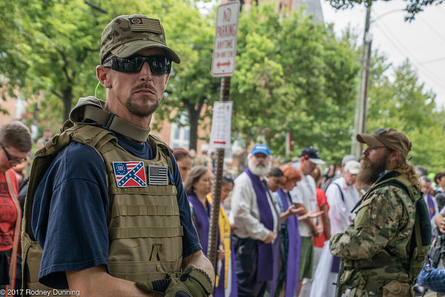 White supremacists seen during the Unite the Right rally, Charlottesville, Virginia, August 12, 2017. (Rodney Dunning/ CC BY-NC-ND 2.0)