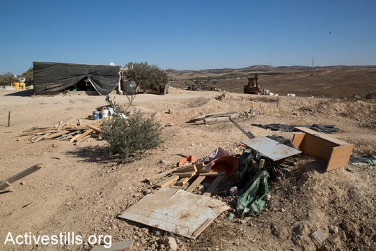 The remains of the Bedouin village of Al-Araqib, which was destroyed by Israeli authorities for the 120th time, October 25, 2017. (Keren Manor/Activestills.org)