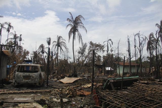 A burnt down Rohingya village in the northern Rakhine State of Myanmar, September 2, 2017. (Moe Zaw/VOA)