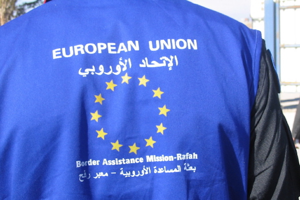 A EUBAM Rafah monitor at the Rafah crossing, January 1, 2006. (Patrick Child/EU photo)