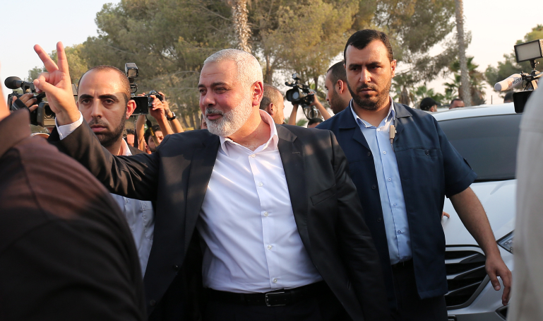 Hamas Chief Ismail Haniyeh arrives at Rafah border crossing from Egypt after returning from Egyptian-mediated reconciliation talks with Fatah, Gaza Strip, September 19, 2017. (Abed Rahim Khatib/ Flash90)