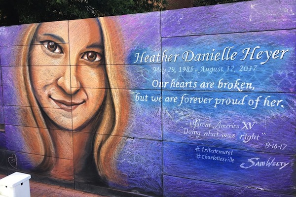 A mural dedicated to Heather Heyer, who was murdered by a white supremacist during the Unite the Right rally in August 2017, Charlottesville, Virginia. (Natasha Roth)