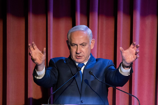 Israeli Prime Minister Benjamin Netanyahu at an event in Jerusalem, October 15, 2017. (Yonatan Sindel/Flash90, cropped)