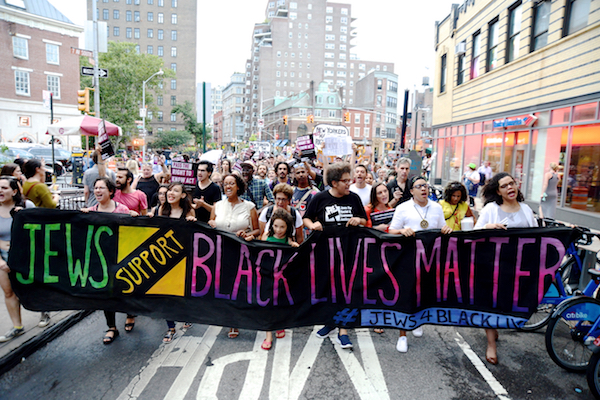Members of Jews for Racial and Economic justice demonstrate in support of the Black Lives Matter protest, New York, August 12, 2016. (Gili Getz)