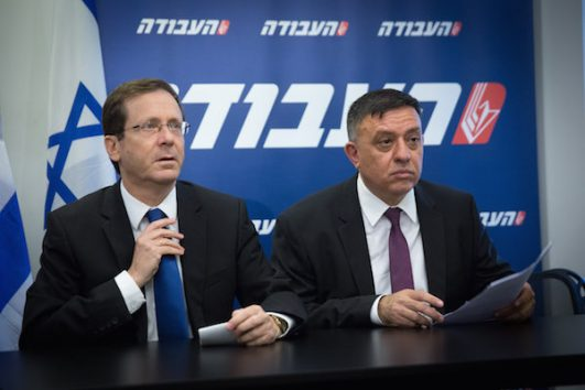 Newly elected head of the Israeli Labour party, Avi Gabbay, with outgoing Chairman Isaac Herzog (Miriam Alster/ FLASH90)